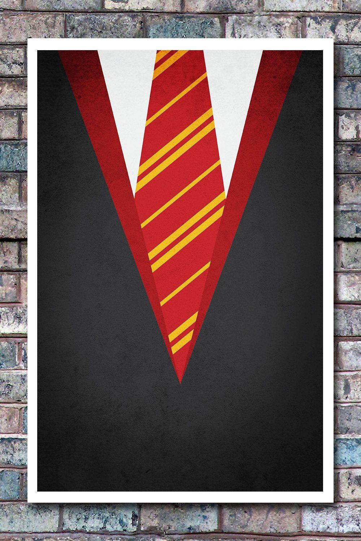 Minimal Gryffindor Robe Poster - Harry Potter Art Print - 11x17. $12.99, via Etsy.