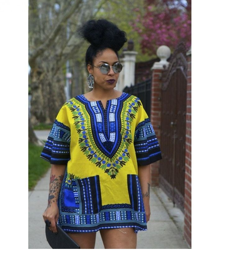 d2a61d45bc0 DASHIKI - UNISEX - WOMEN AND MEN - ONE SIZE Feel cultural in this Vibrant  African Print Dashiki Shirt Dress. Featuring all classic dashiki components  with a ...