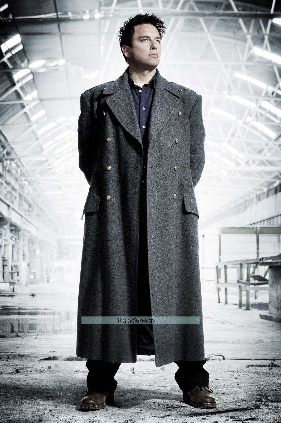 Doctor Who Captain Jack Harkness John Barowman Long Black Wool Blend Trench Coat