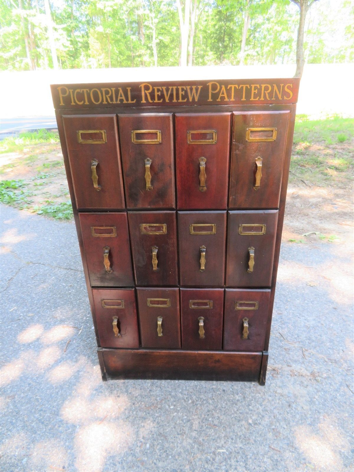 Antique Vintage Pictorial Sewing Patterns Advertising Wood Filing File Cabinet Ebay