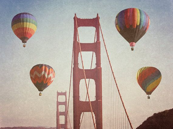 Golden Gate Bridge Balloons photograph - San Francisco - 8x10 photograph - California fine art print - hot air balloom photography