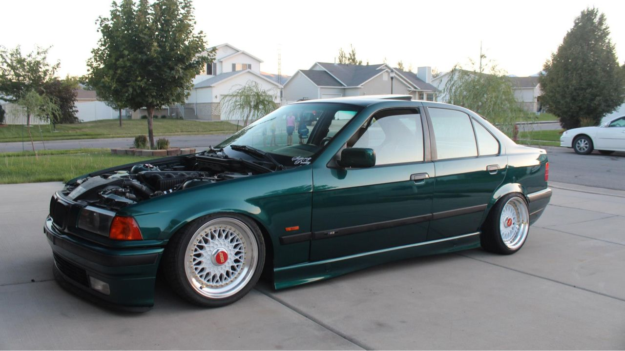 Boston green BMW e36 sedan on cult classic BBS RS wheels