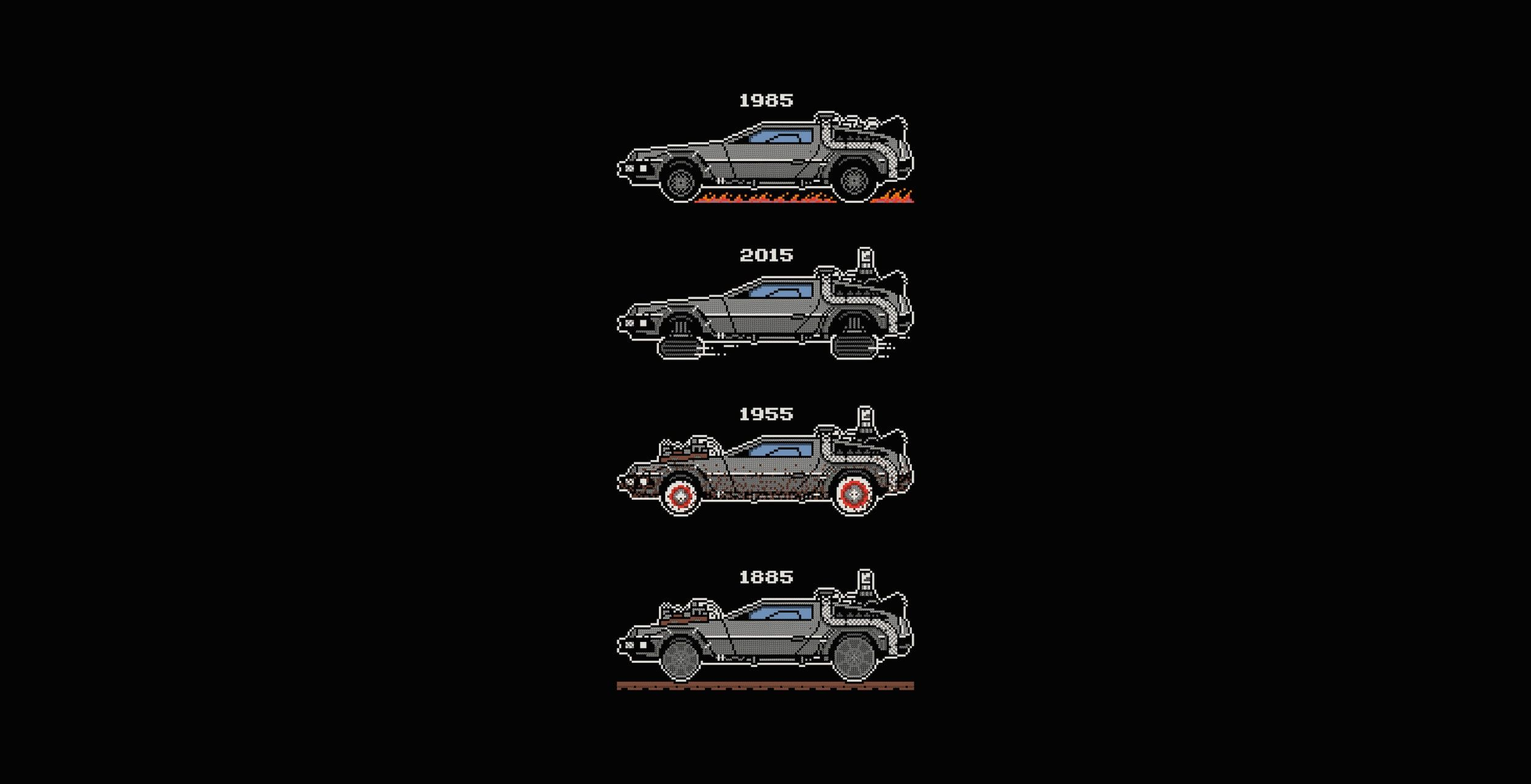 Minimalism Artwork Simple Background Back To The Future Time Machine Movies Car Vehicle Delorean 1080p Wa Future Wallpaper Simple Backgrounds Wallpaper