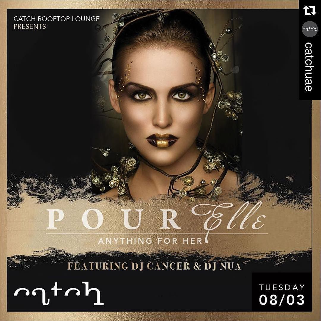 """#Repost @catchuae with @repostapp.  """"POUR ELLE NIGHT"""" - Anything For Her  The Rooftop Bar  Lounge at Catch offers a superior cosmopolitan nightlife experience unique to the #prestigious Corniche area of Abu Dhabi. Tonight - Tuesday - 8th March at 9:00 pm Catch hosts the most elegant and elite POUR ELLE Night - Anything For Her - where she ( Ladies) can enjoy complimentary drinks and embark on an entertainment journey through our exclusive Resident #DJS  @nua_music and @djcancerrmx…"""