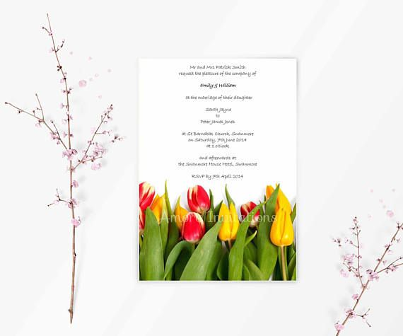 Digital Printable Yellow Red Tulips Wedding Invitation Birthday