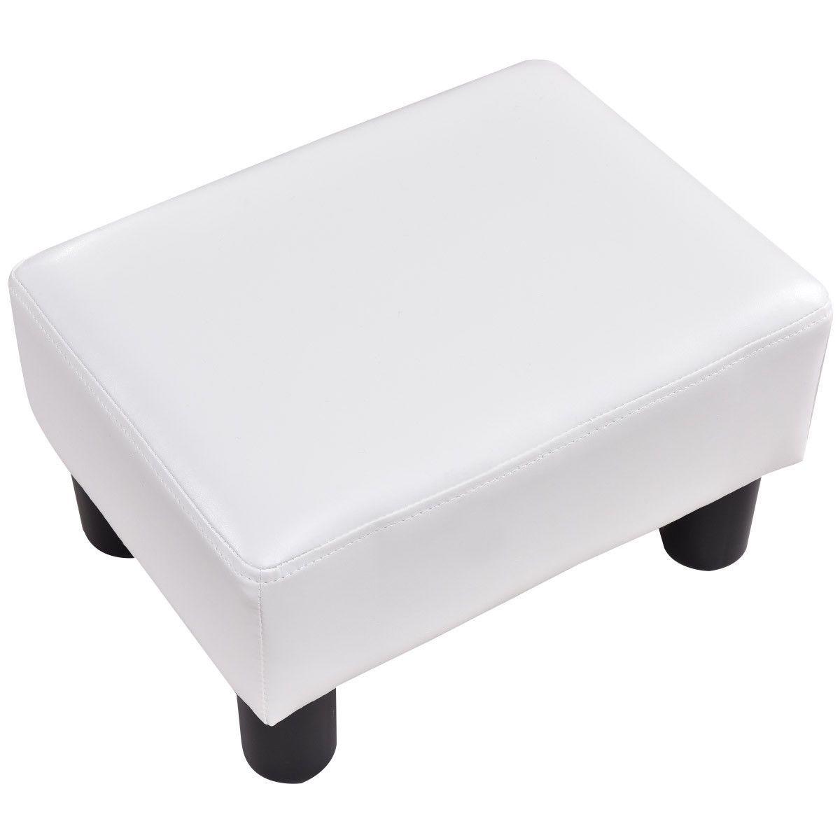 Small Pu Leather Rectangular Seat Ottoman Footstool White In 2020