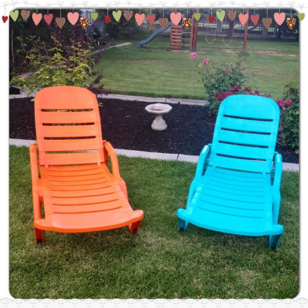 Resin white lounge chairs with a bright make over. They ...