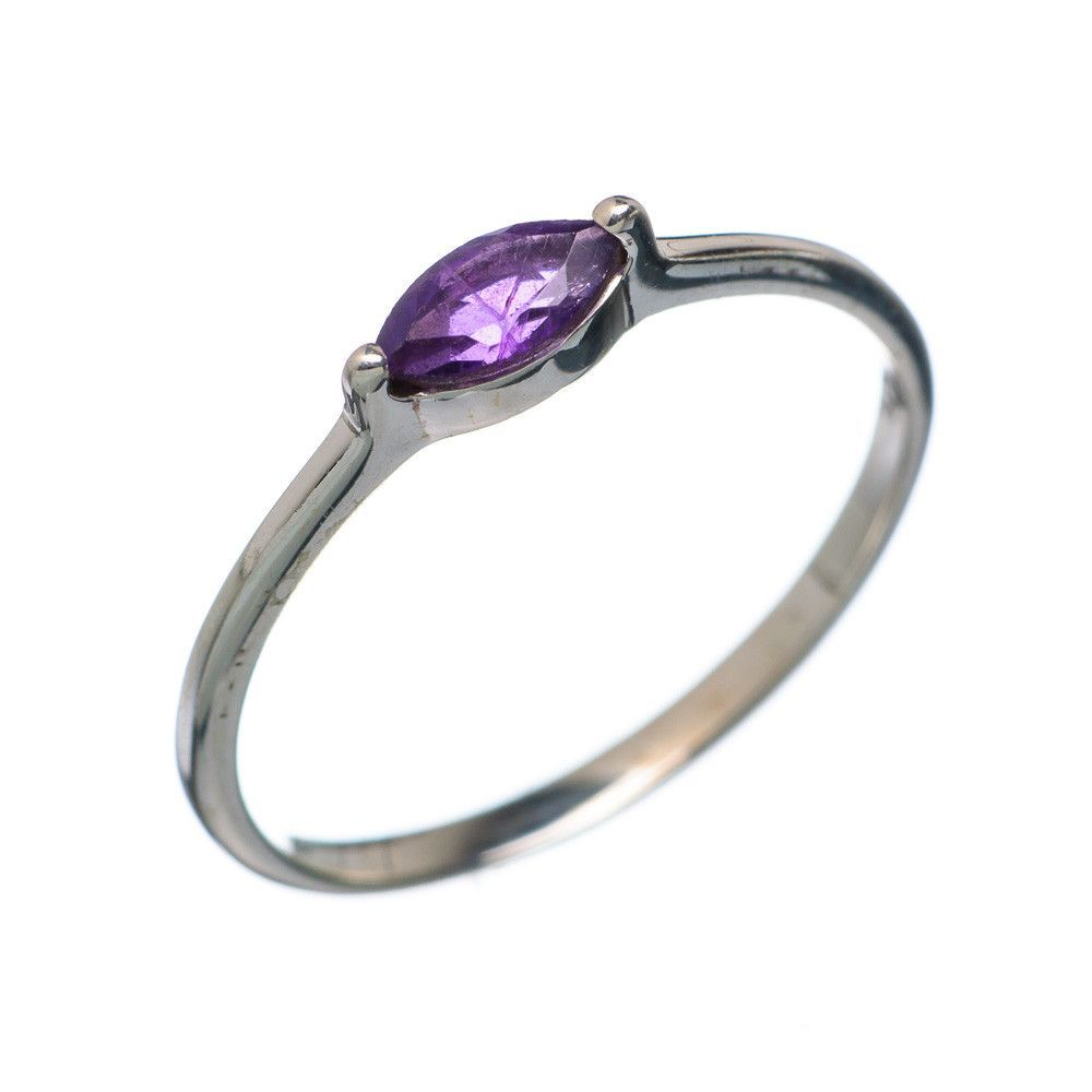Faceted Amethyst 925 Sterling Silver Ring Size 7.25 RING670358