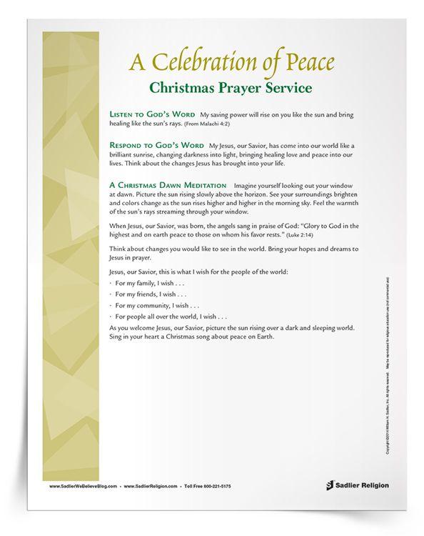 Christmas Prayer Service: Lead students in a Christmas prayer ...