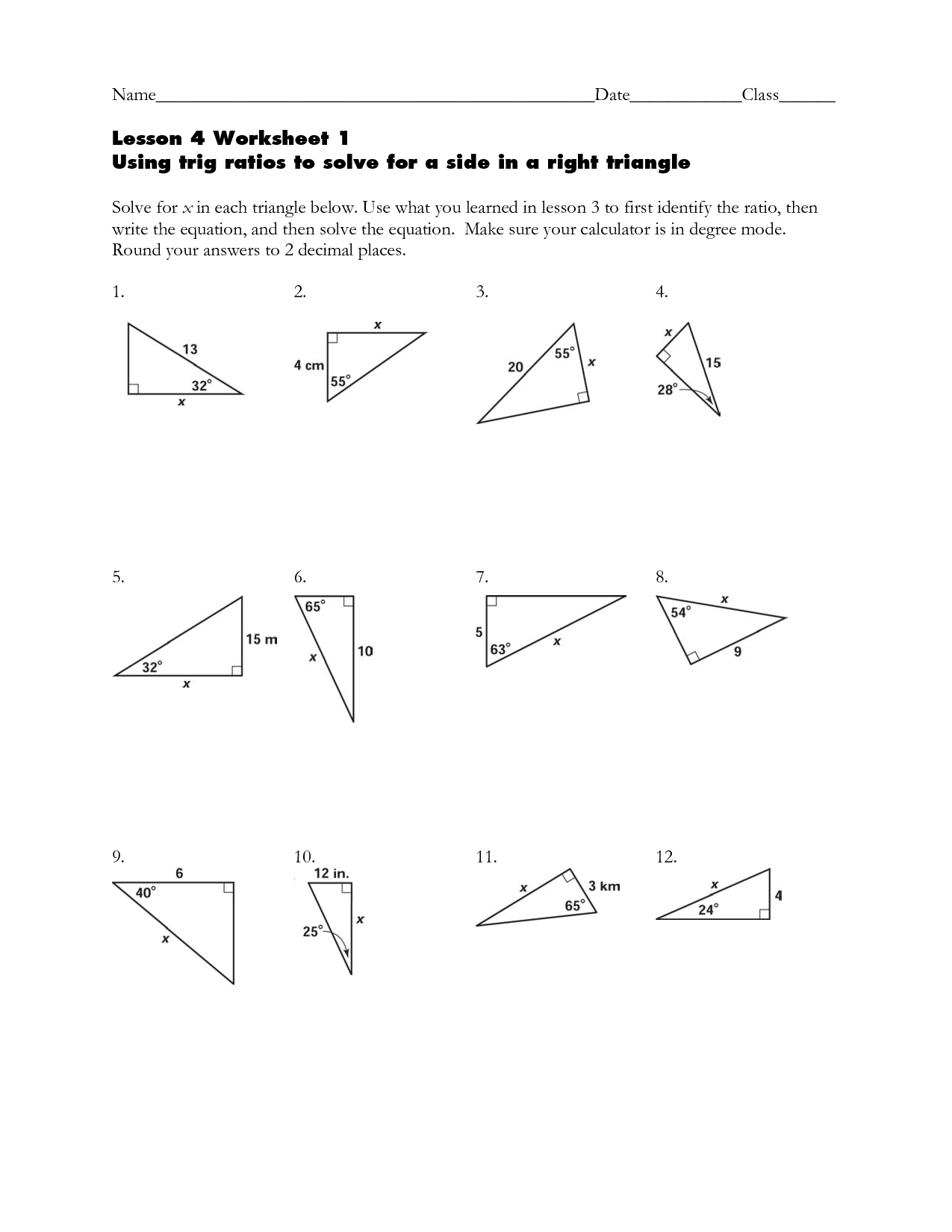 15 Best Images of Right Triangle Trigonometry Word