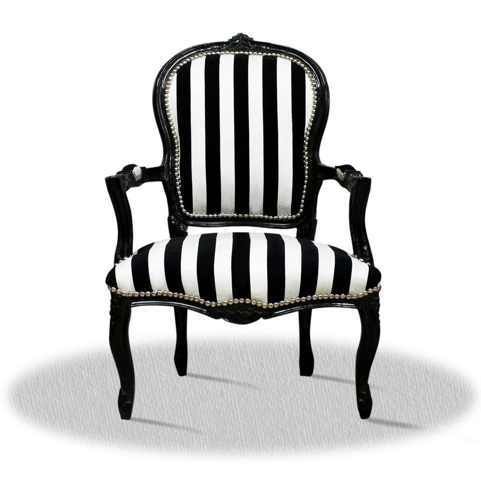 Barock Stuhl schwarz weiss Zebra gestreift modern