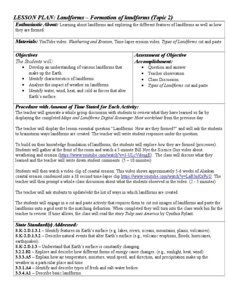 Making Generalizations Worksheets 4th Grade Landforms Worksheet For 4th Grade In 2020 Word List Worksheets Weathering And Erosion