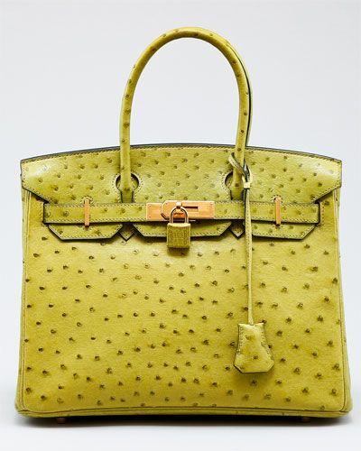 564ce5ba39 Hermes Vert Anis Ostrich Birkin Bag So