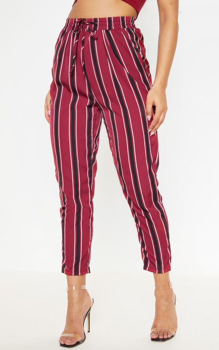 71f4a13e56d31a Burgundy Multi Stripe Casual Trousers in 2019 | Products | Trousers ...