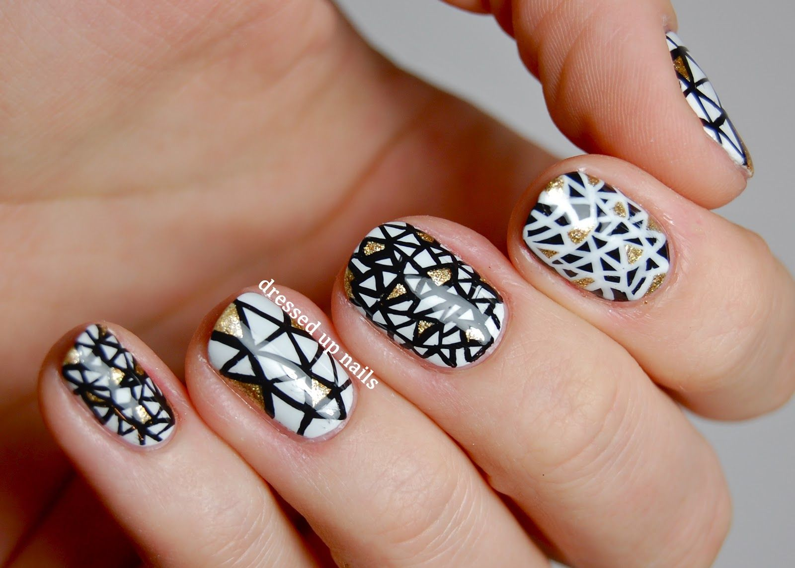 Black and white triangle geometric nail art 1 nails pinterest dressed up nails black and white triangle nail art if i was talented prinsesfo Image collections