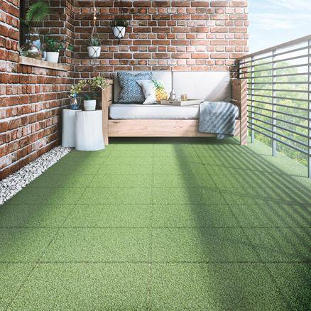 Baldosa composite con base pl stica verde 40 x 40 cm - Baldosas terraza exterior ...