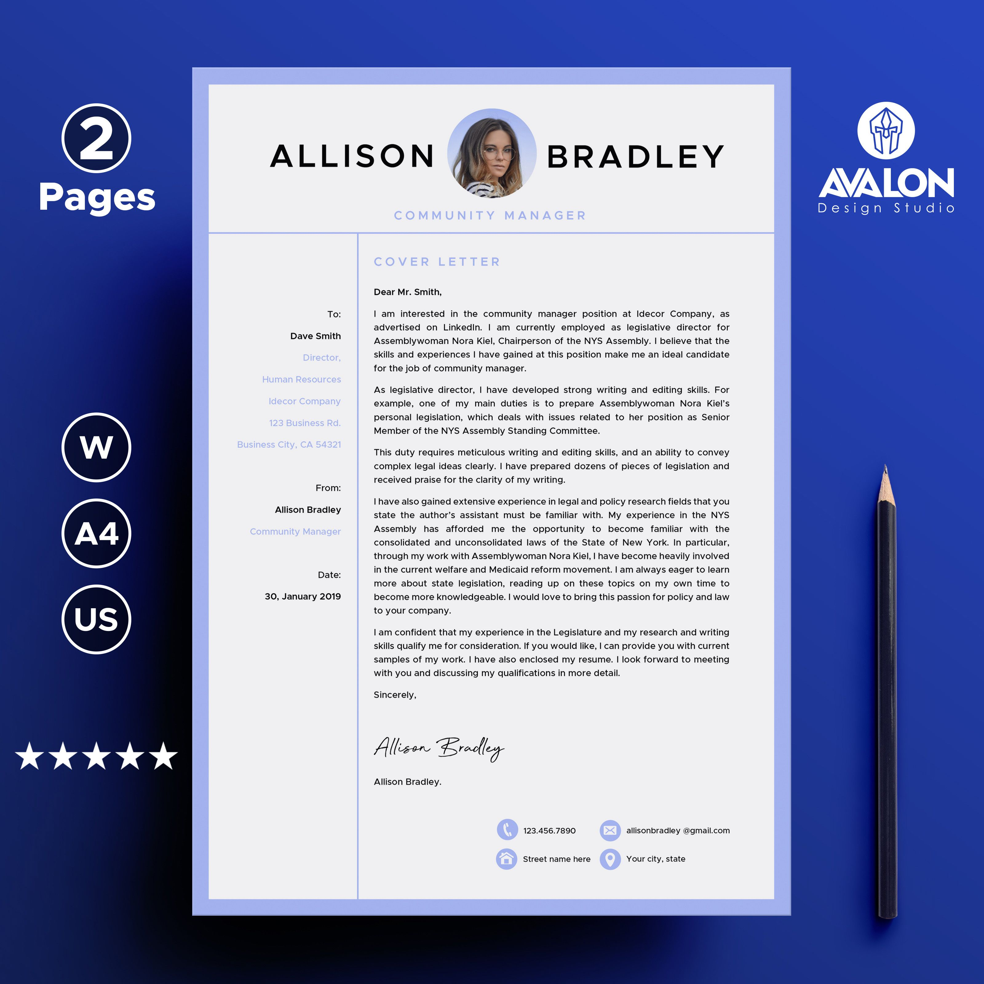 Professional Cover Letter Template For Microsoft Word 2 Pages Full Editable Instant Download Microsoft Word Microsoft Free