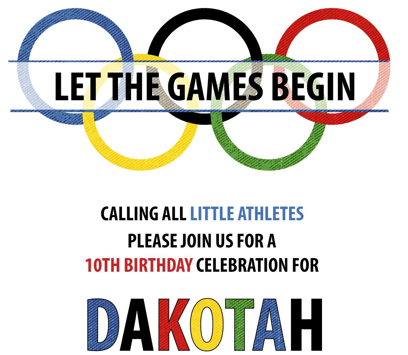 Olympic Party Invitations Free