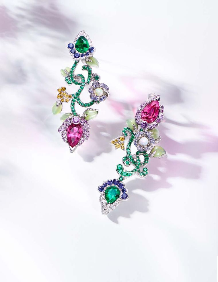 The fresh feel of spring is perfectly captured in these Fabergé earrings from the new Secret Garden high jewelry collection.