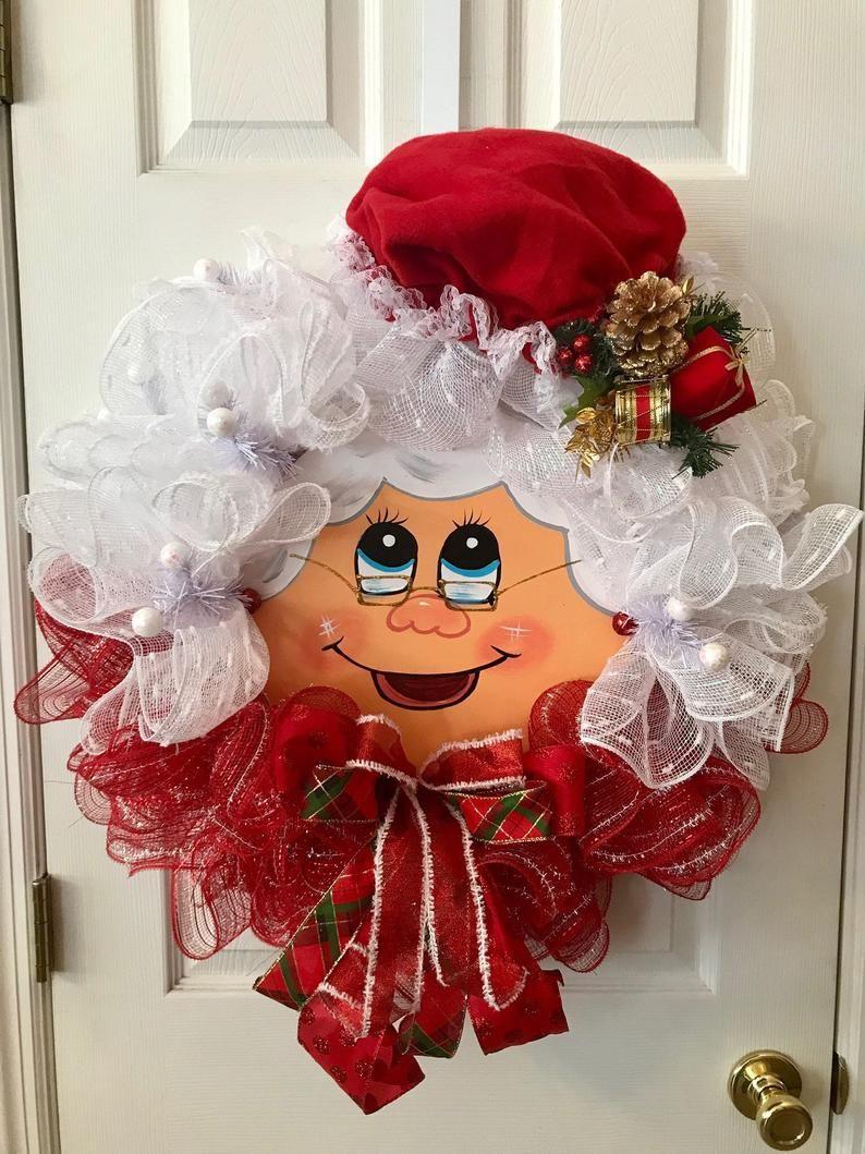 Mrs. Claus Deco Mesh Wreath, Christmas Home Decor, Christmas Deco Mesh Wreath, Christmas Front Door Wreath, Deco Mesh Reef, Christmas Wreath