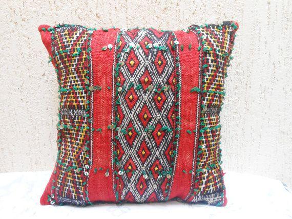 moroccan throw pillows. Vintage Moroccan Berber Pillow Cover- Decorative Throw Pillow- Woven Wool Cushion-Moroccan Pillows