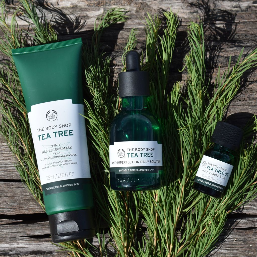 Need To Banish Those Blemishes Our Tea Tree Range Is Powered By Purifying Community Trade Organic Tea Body Shop Tea Tree Body Shop Tea Tree Oil The Body Shop