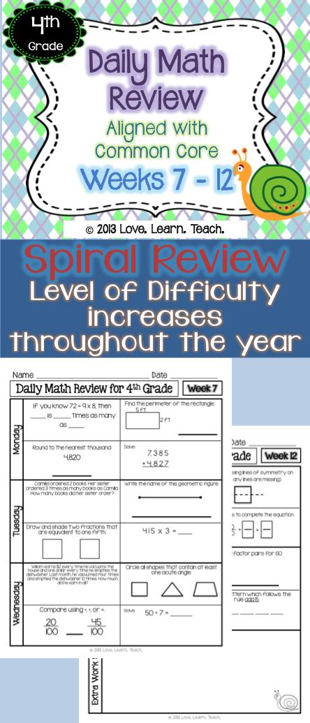 4th Grade Morning Work | 4th Grade Spiral Math Review | Set 2 (6 ...