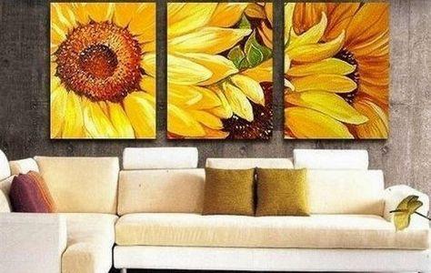 100% Hand Painted Artwork Yellow Sunflower 3 Piece Wall Art Oil ...