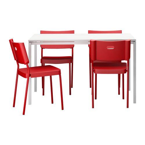 melltorp herman tisch und 4 st hle wei rot ikea ideas for bern pinterest wei e st hle. Black Bedroom Furniture Sets. Home Design Ideas