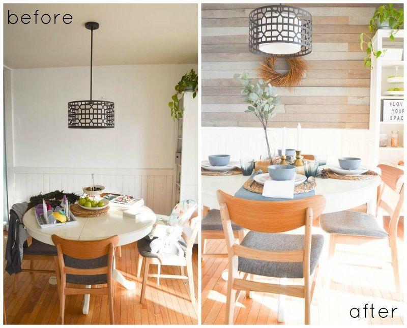 diy barn board dining room wall | Dining room makeover ...