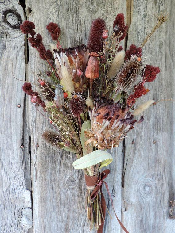 Dried Flower Protea Bouquet Arrangement Thistle Pods Bunny Dried Bouquet Dried Flower Bouquet Dried Flowers