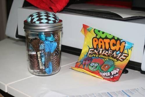 Mason Jar Pin Cushion filled with goodies