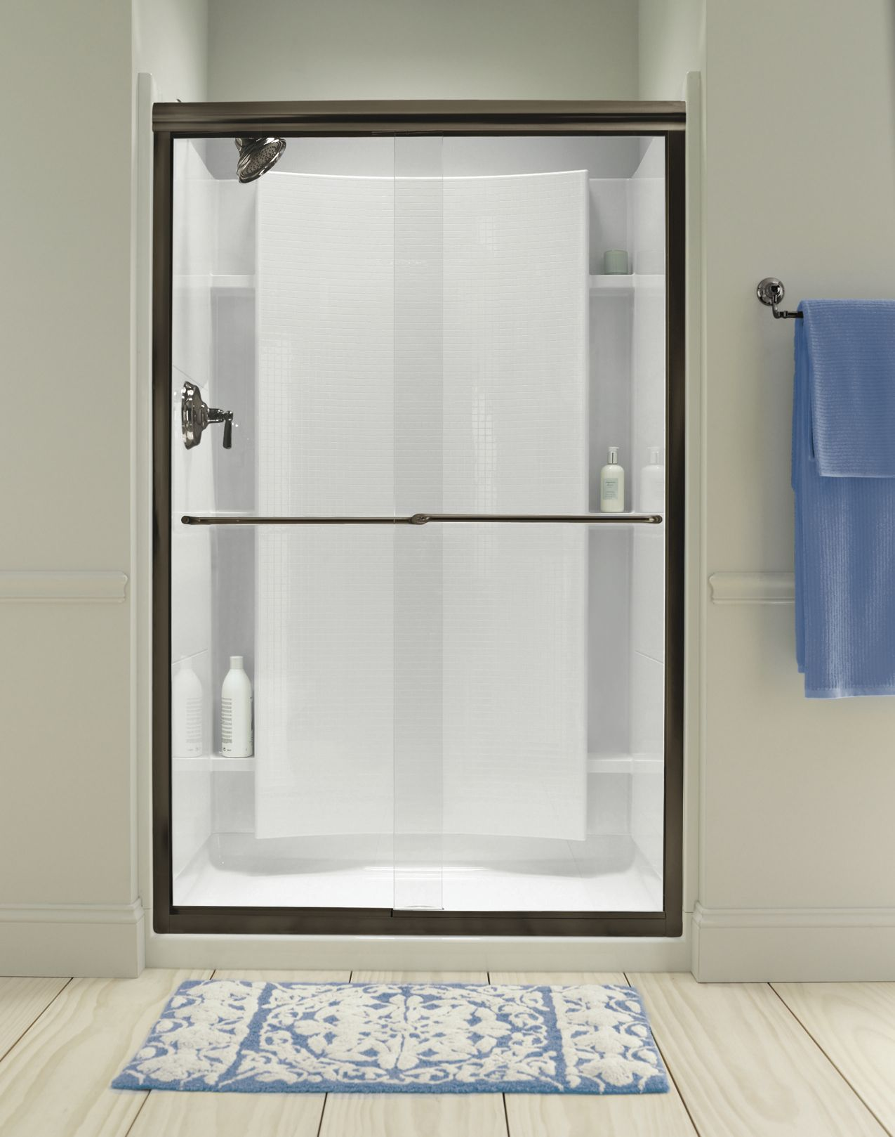 Make Your Shower Space The Focal Point Of Your Bathroom With A Frameless By Pass Shower Door T Frameless Sliding Shower Doors Shower Doors Sliding Shower Door