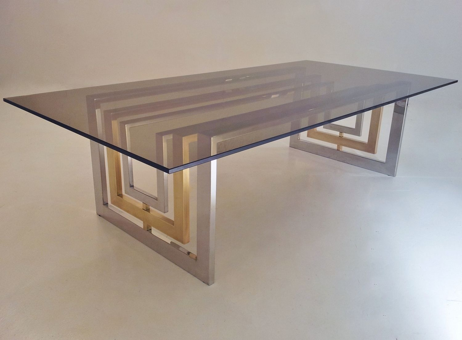 Romeo Rega Signed Vintage Coffee Table, Brass, Chrome U0026 Glass, 1980`s