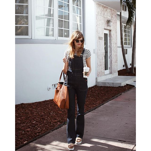 striped shirt and overalls