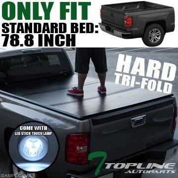 Topline Autopart Solid Trifold Hard Truck Topper Cap Tonneau Cover Jr 1417 Chevy Silverado Gmc Sierra Tonneau Cover Hard Tonneau Cover Tri Fold Tonneau Cover
