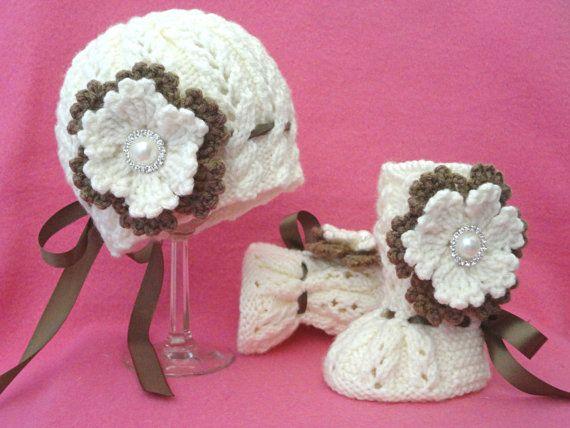 Crochet Baby Girl Set Knitted Baby Set Baby Hat by Solnishko42