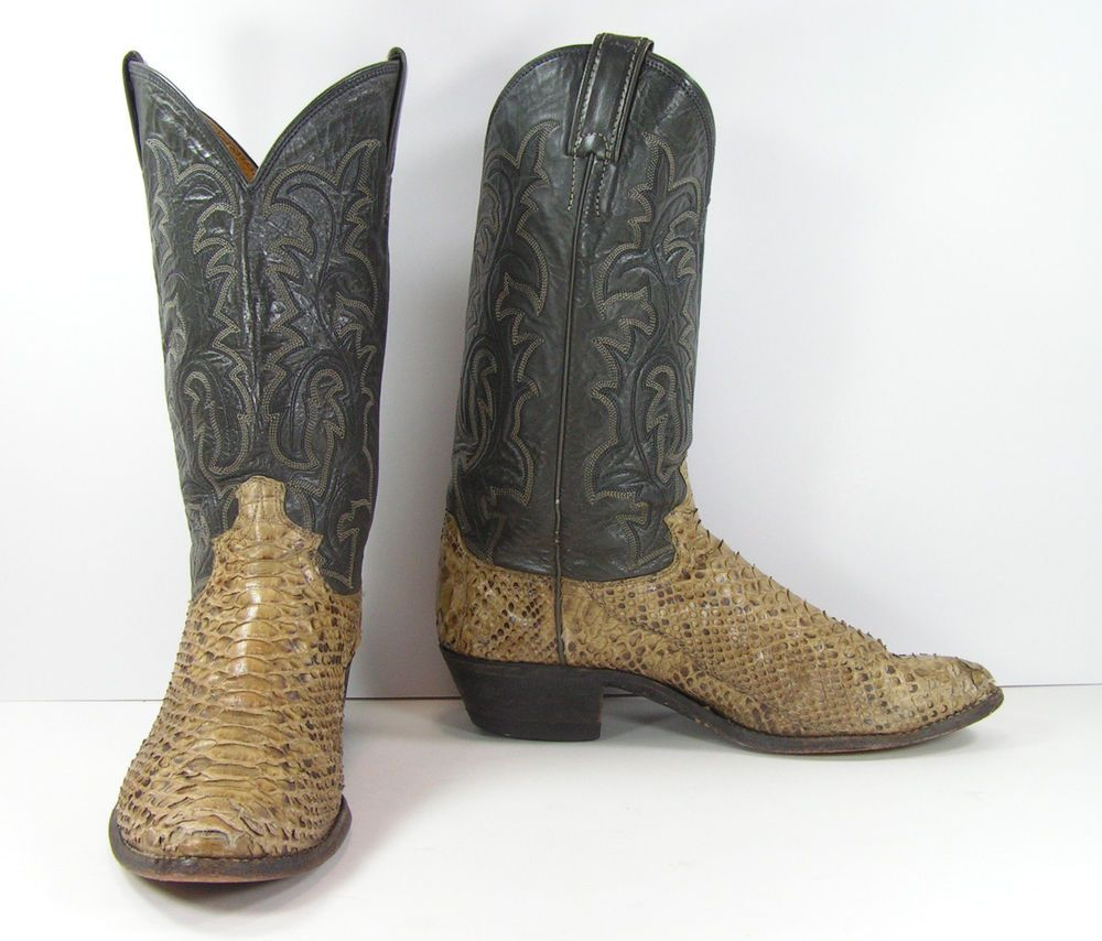 753dc3c781bae justin python snake skin cowboy boots mens 9.5 D gray brown leather ...
