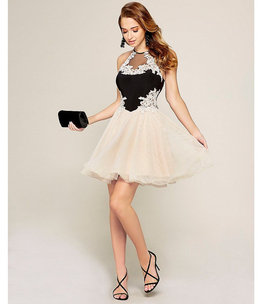 31aed8f6e38 Blondie Nites High Tie-Neck Embroidered Fit-And-Flare Dress ...