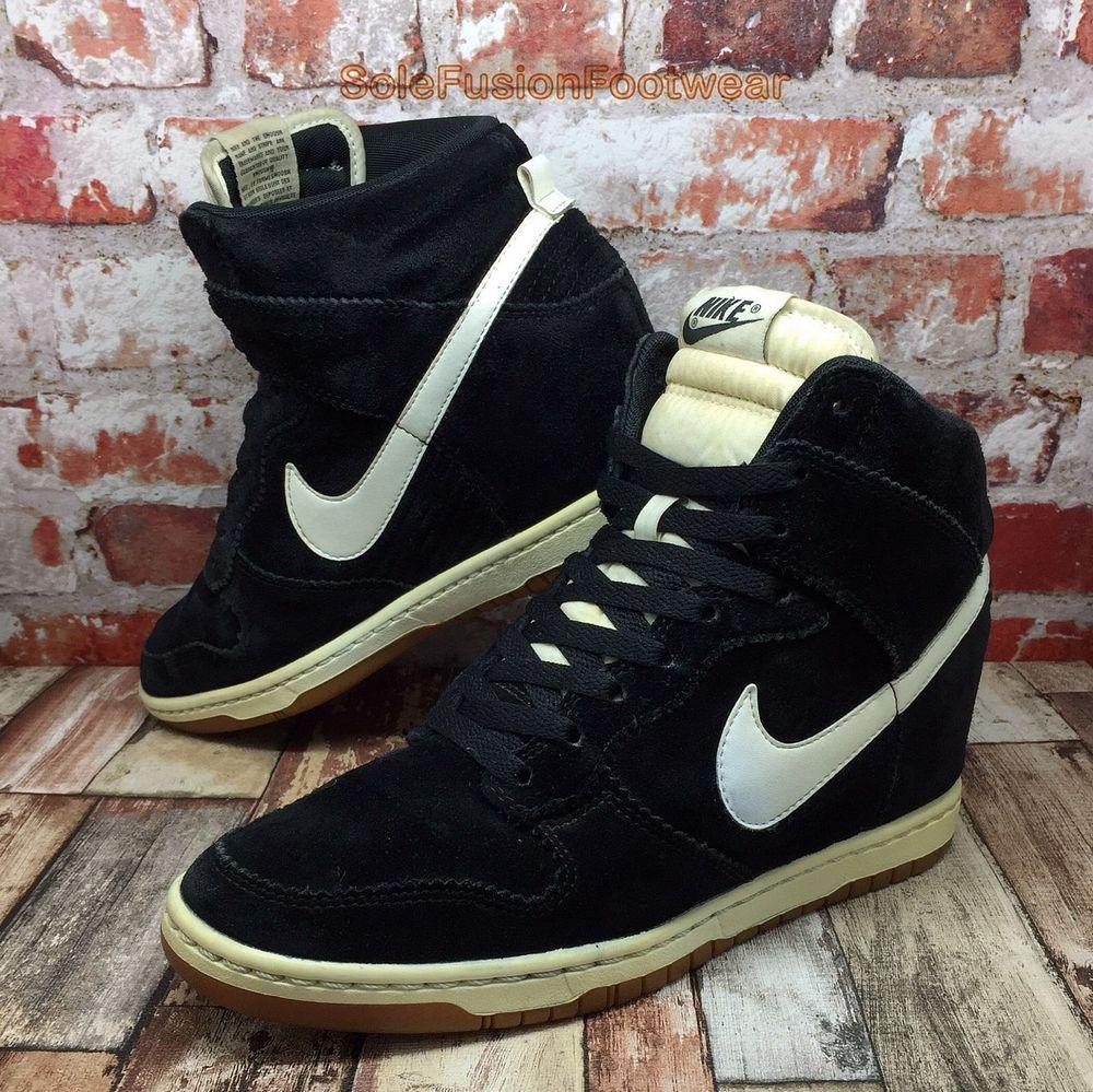 Nike Womens Dunk SKY HI Trainers Black size 7 Wedge Heel