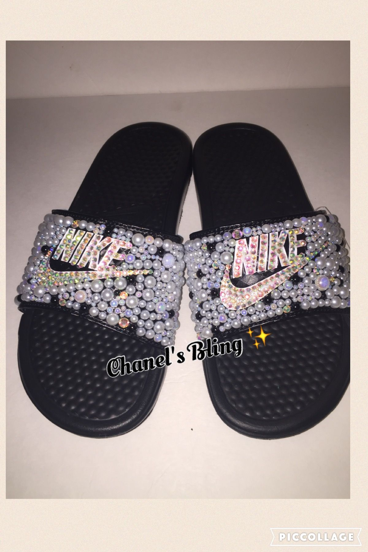 049c3897b Custom Bling Nike Flip Flop Slides Benassi Embellished with high quality  rhinestones and pearls