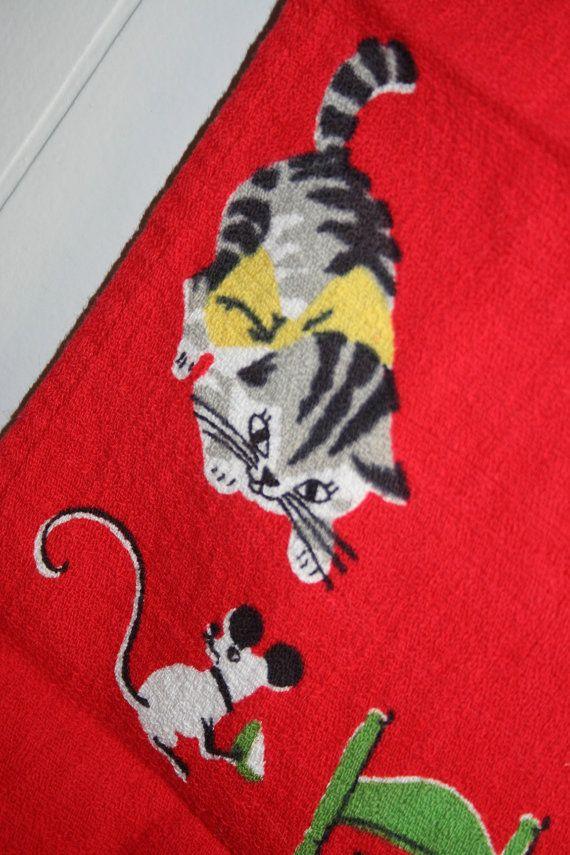 Mid Century Here's Kitty Kitten Tea Party Red by randomretro