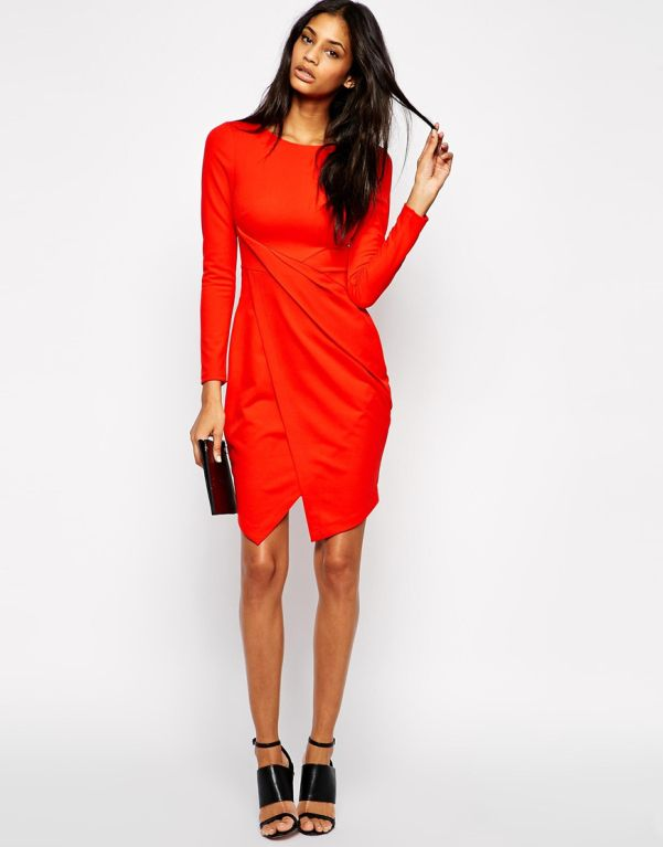 17 Long-Sleeve Mini Dresses To Wear on New Year\'s Eve   Red wrap ...