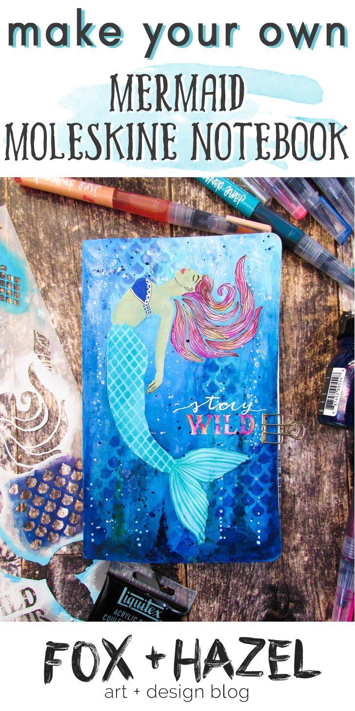 DIY Mermaid Moleskine Sketchbook with StencilGirl ...