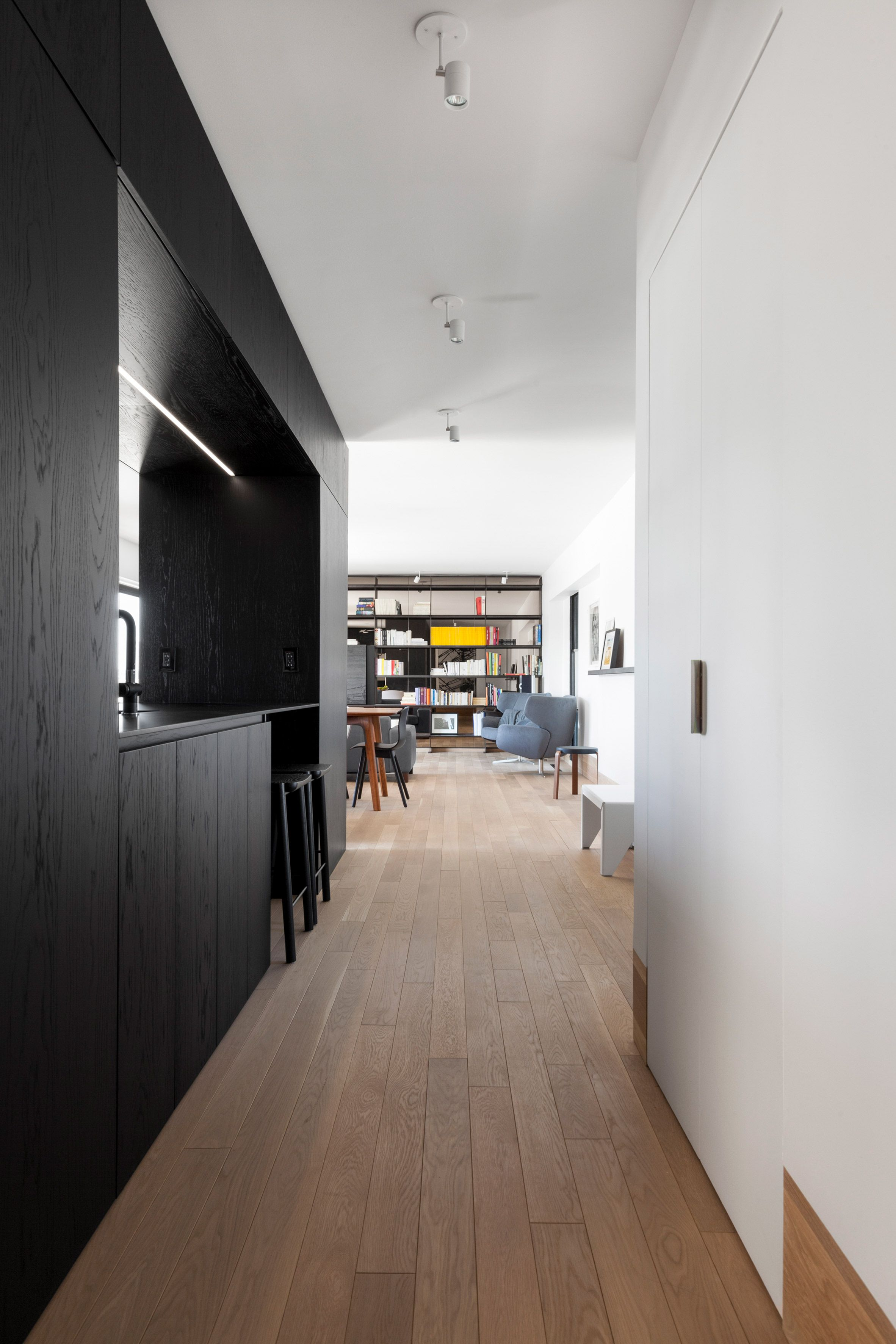 A Concrete Wall Where The Two Volumes Meet Is Left Exposed And Is Covereed With Colourful Markings From Whe Apartment Renovation Interior Design House Interior