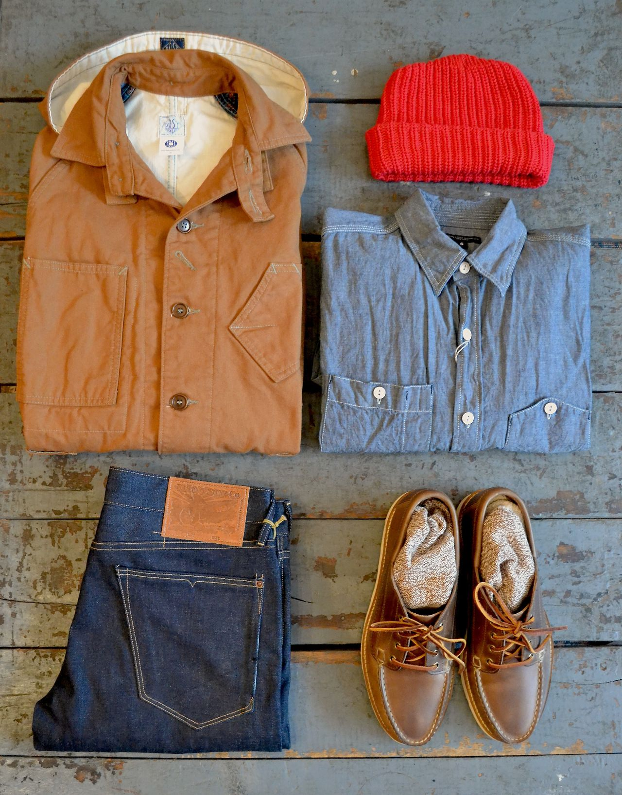 Post overalls sweet bear jacket engineered garments for Bear river workwear shirts