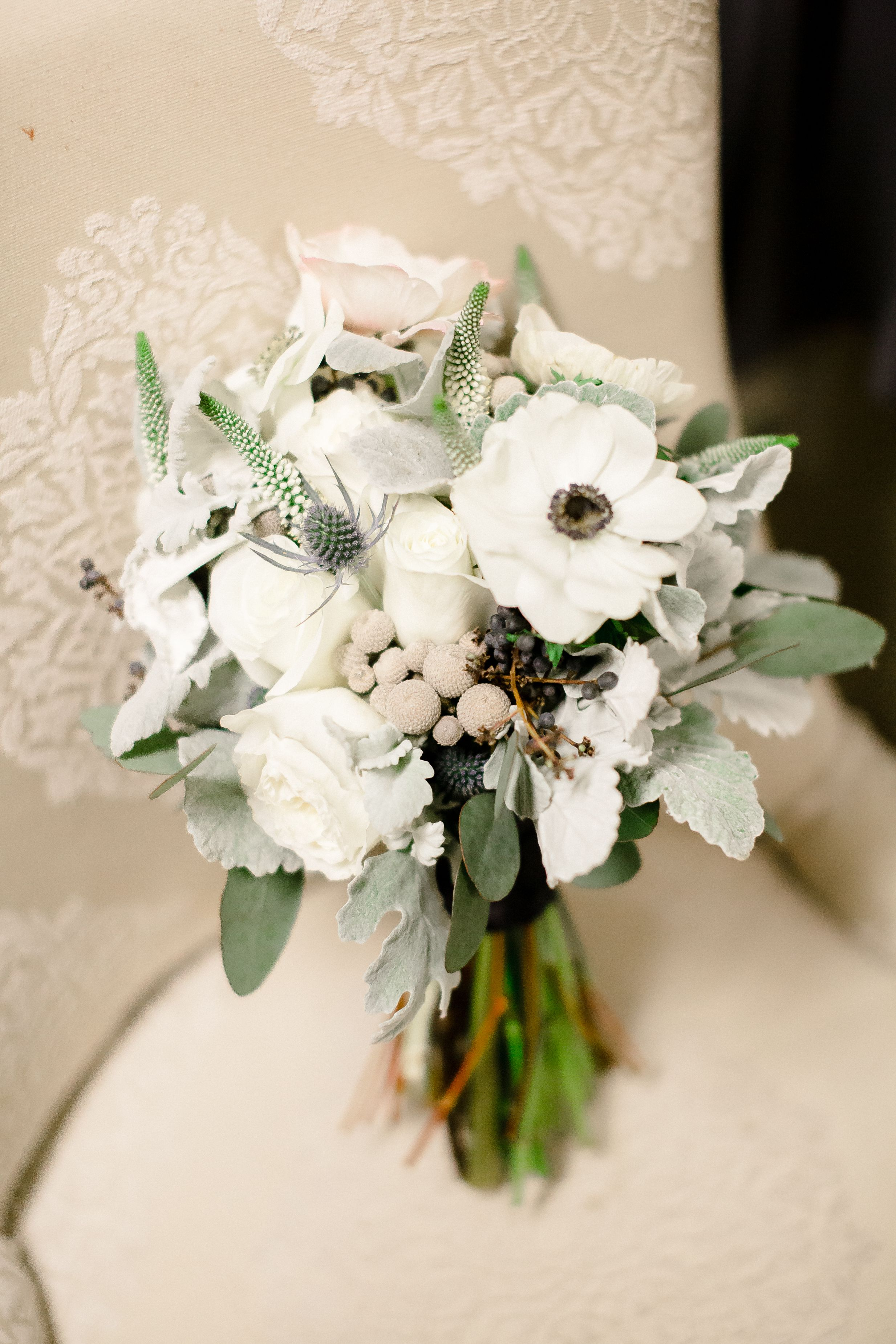 Sweet and soft winter bouquet anemone dusty miller brunia sweet and soft winter bouquet anemone dusty miller brunia veronica privet izmirmasajfo