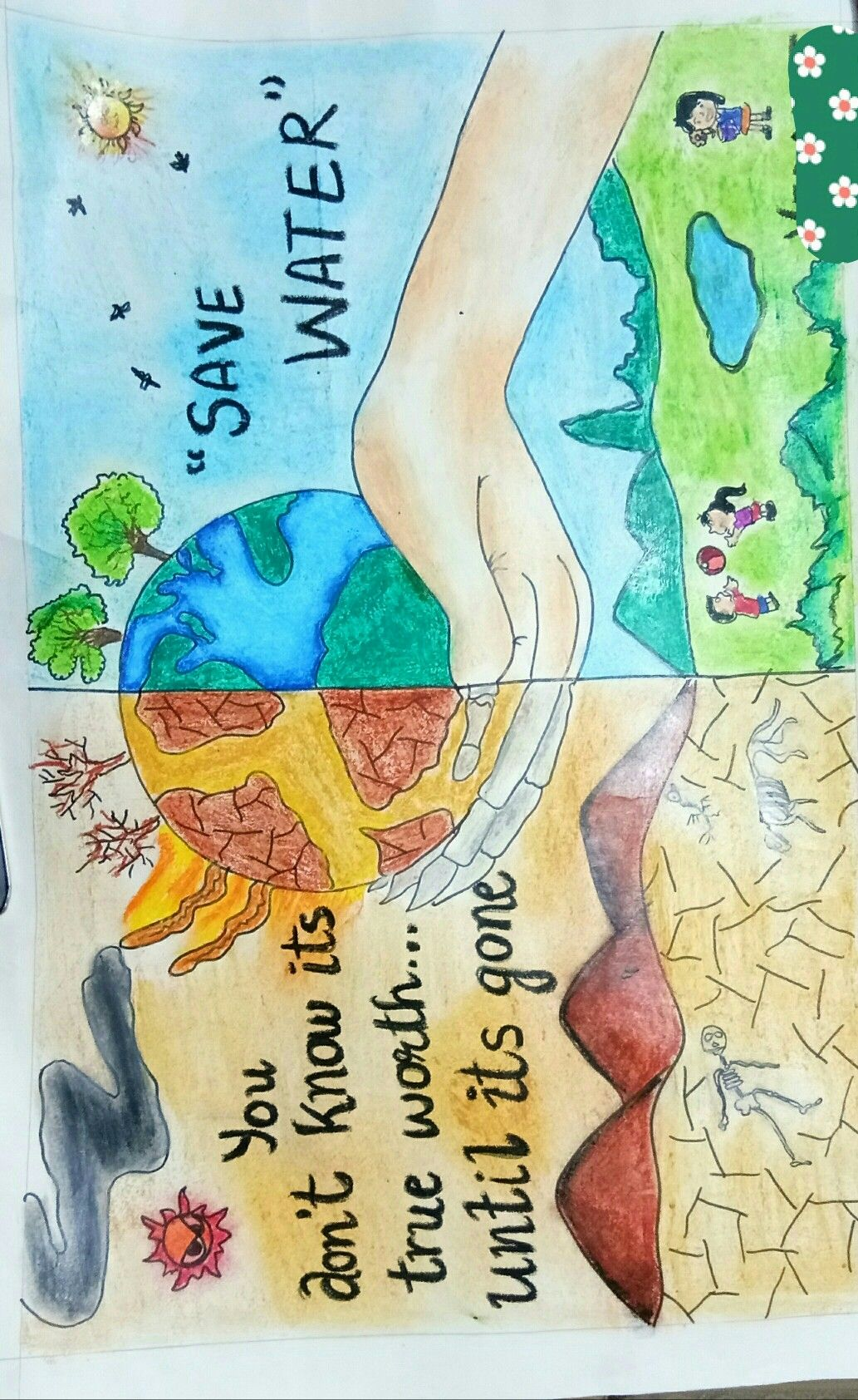 Save water save water save water drawing