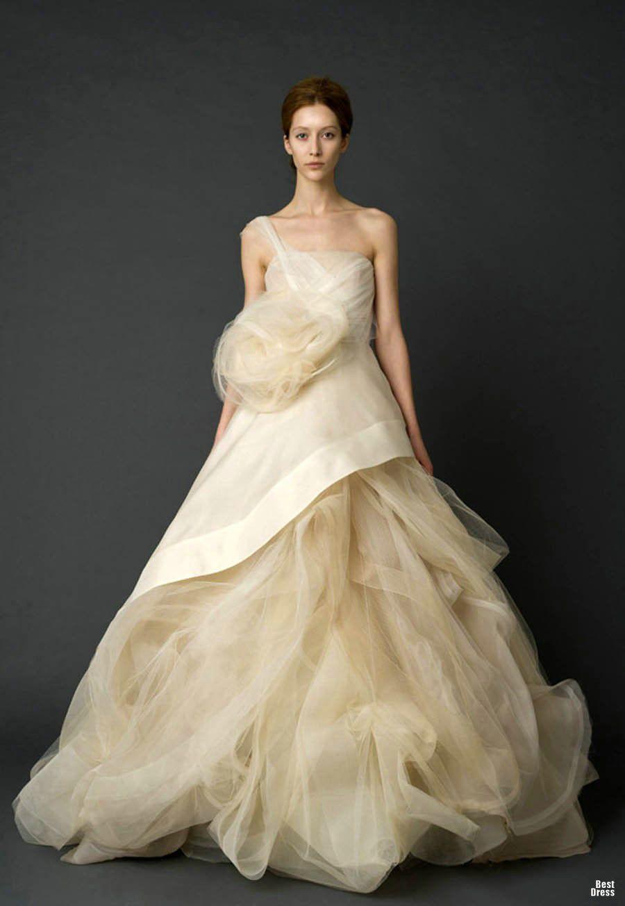 A Line Tulle One Shoulder Designer Princess Wedding Gowns 2012 ...