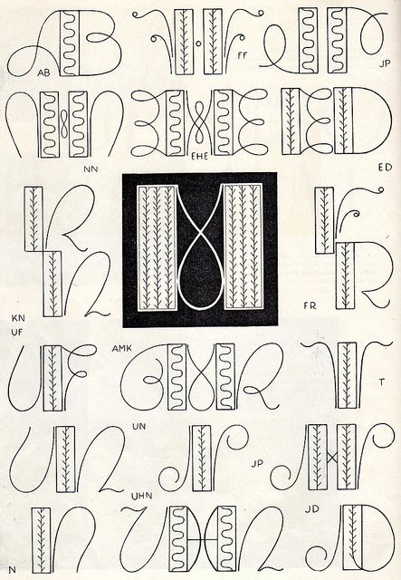 Embroidery monogram patterns from 1950 | strickmuster | Pinterest ...